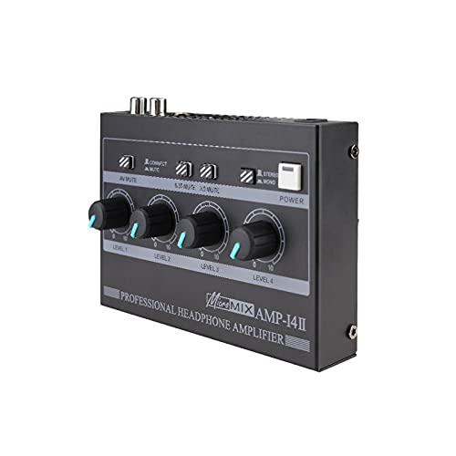 POHOVE Mehrkanal-Mini-Kopfhörersplitter, 4-Kanal-Kopfhörerverstärker, Kopfhörermischer, ultrakompaktes Kopfhörerverstärkersystem für Studio und Bühne 6,35 mm 3,5 mm