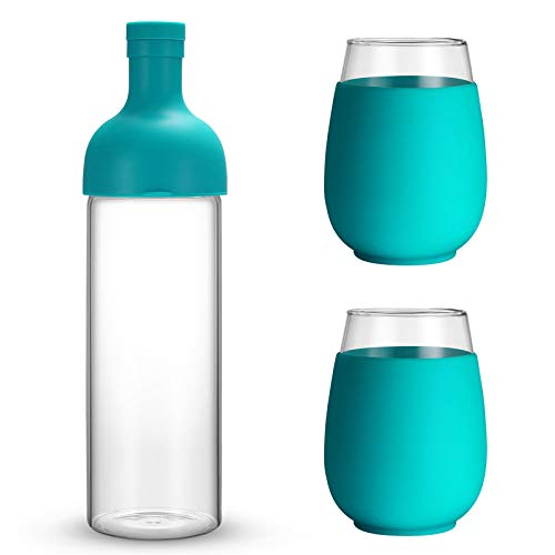 tronco 30oz Wine Bottle Carafe with Lids and 2 Wine Glasses Party and Gift Set - 30 Oz Wine Bottle and 2 Pack 17 Oz Glass Wine Tumbler with Silicone Sleeves