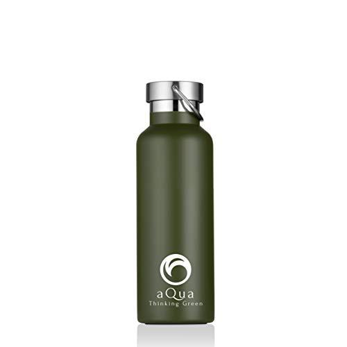 AQUA, Botella Agua Térmica 500 ml, Acero Inoxidable,Termo Doble Pared Aislada al Vacío, Verde Militar, Boca Ancha, Ecológica, para Deporte, Oficina, Camping, Viaje, Sin BPA
