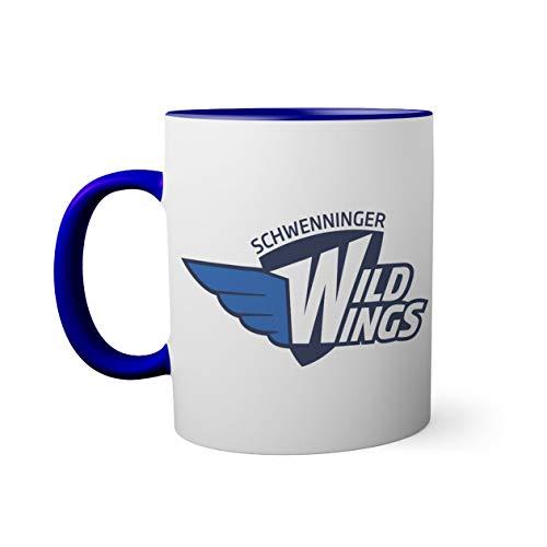 Ice Hockey Team Schwenninger Wild Wings Eishockey Tasse innen und am Henkel dunkelblau außen weiß 330ml