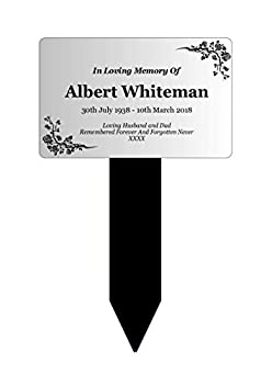 New Personalised Silver Memorial Plaque Stake Acrylic - Outdoor Grave Marker Remembrance Tribute