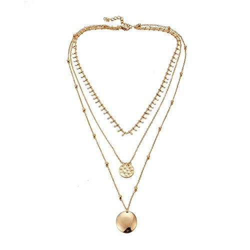 Encantos de Cadena del Oro Color de la joyería Collar de la Manera Chockers Ronda Geometría Colgante for Las Mujeres Accesorios (Metal Color : A)