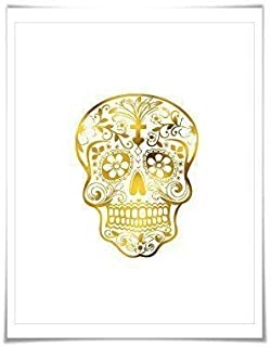 Sugar Skull Real Gold Foil Art Print. 7 Foil Colours/3 Sizes. Day of the Dead Art, Mexican Poster.