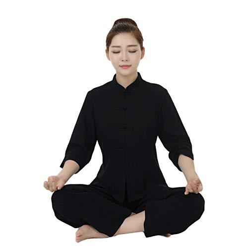 BBLAC 2KEY Kampfkunst Anzug | Traditionelle Chinesische Uniform für Tai Chi und Meditation | Kostüm aus Baumwolle und Leinen | Täglicher Anzug (Mantel + Hose) (A,XXXL)