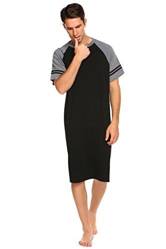 Nachthemd Herren Kurzarm Schlafanzug Nachtwäsche mit Knopfleiste Knielang Schlafkleid für Männer Sommer (Schwarz, XXXL(60-62))