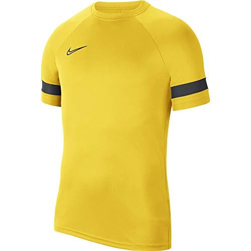 NIKE Camiseta de Entrenamiento Academy 21 para Hombre, Hombre, Camiseta, CW6101-719, Amarillo/Negro/Gris Oscuro/Negro, Medium