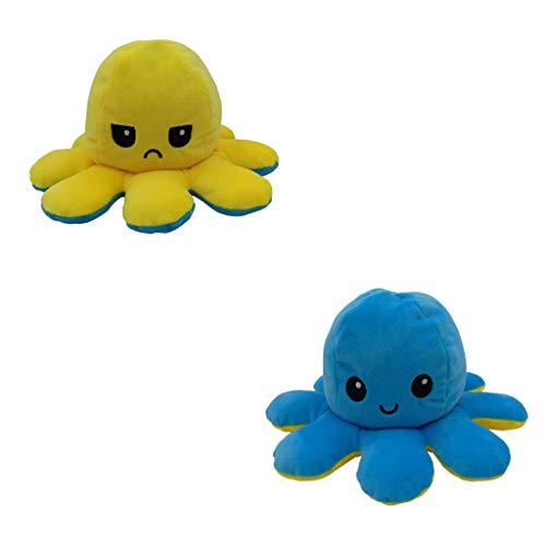AILIEE Kleine Oktopus-plüschpuppe Puppe Beidseitig Plush Toy Wendbares Spielzeug Flip Tintenfisch Plüschtier Kinder Geburtstag Geschenk Weiches Stofftier 1 Stück(Blau/Gelb,1PC)