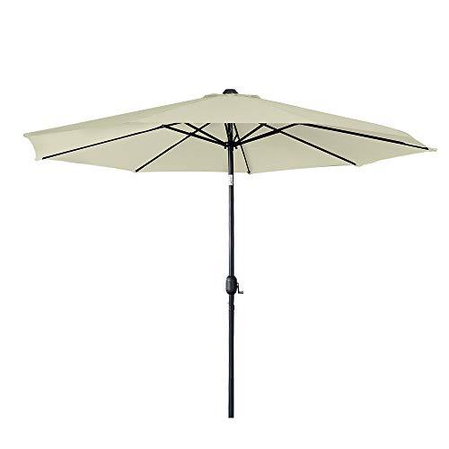UISEBRT 300cm Sonnenschirm Alu Neigbar mit Handkurbel UV Schutz 40+ - Gartenschirm Terrassenschirm Marktschirm für Balkon, Garten, Terrasse (300cm, Beige)