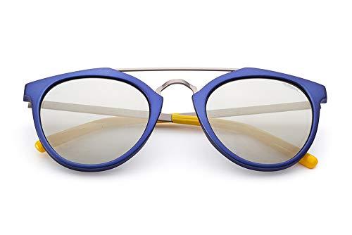 Saraghina Eyewear Remo - Gafas de sol unisex 100% fabricadas en Italia - Color azul metalizado - Metal - Lente dorado/gris