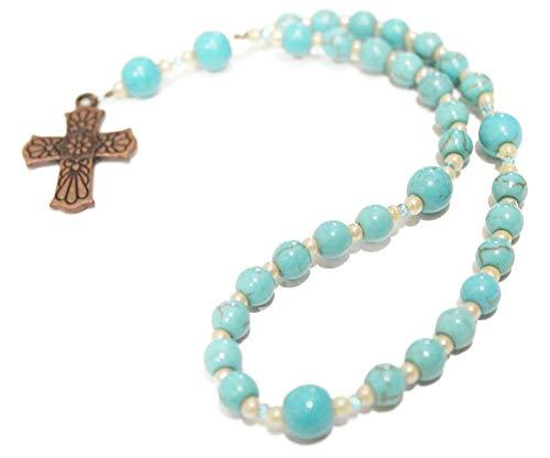 Prayer Beads of Turquoise Howlite, Copper Southwestern Cross