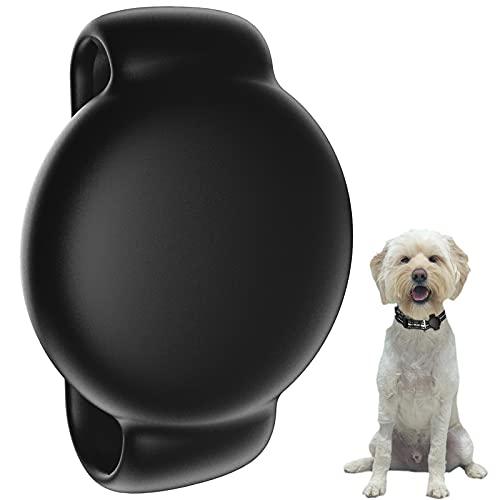 SUPMEGA Funda para soporte de collar de perro AirTag, funda de silicona flexible con banda ajustable para collares de mascotas, funda protectora antiarañazos, compatible con AirTag 2021, color negro