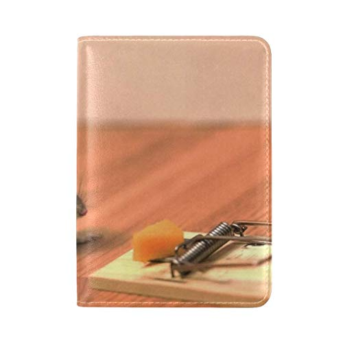 Mouse Cheese Mouse Trap Helmet Funny Situation Leather Passport Holder Cover Case Travel One Pocket
