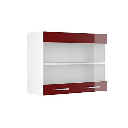 Vicco Küchenschrank R-Line Hängeschrank Unterschrank Küchenzeile Küchenunterschrank Arbeitsplatte, Möbel verfügbar in 6 Dekoren (Bordeaux ohne Arbeitsplatte, Hängeglasschrank 80 cm)