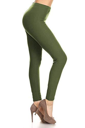 LDR128-OLIVE Basic Solid Leggings, …