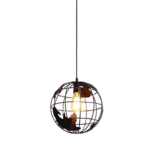 SuRose Globe Ornaments, Lámpara Colgante Lámpara Colgante esférica Industrial, Jaula Colgante Lámpara de Techo con Forma de Globo para Cocina, Comedor, Mesa de Pasillo, candelabros (Color: Negro)