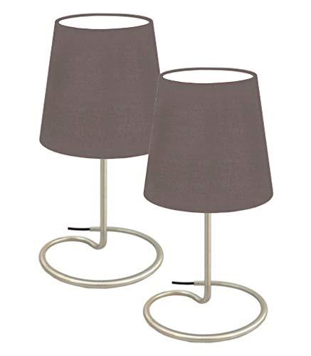 """Trango 2 pacchi Lampada da tavolo, lampada da comodino, lampada TG2018-25W""""WHITE"""" con paralume in tessuto bianco Ø 170mm, altezza: 325mm"""
