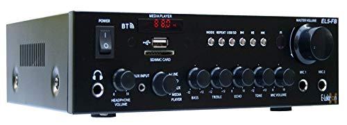 E-Lektron EL5-FB HiFi Stereo Class-D Verstärker mit Bluetooth | FM-Radio | USB/SD Mediaplayer | Karaoke | Fernbedienung