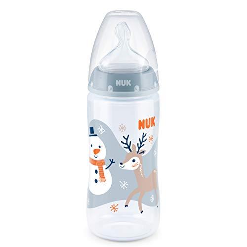 NUK First Choice+ Babyflasche, 6-18 Monate, BPA-frei, kiefergerechter Silikon-Trinksauger, Pp, Snow (blau), 300 ml