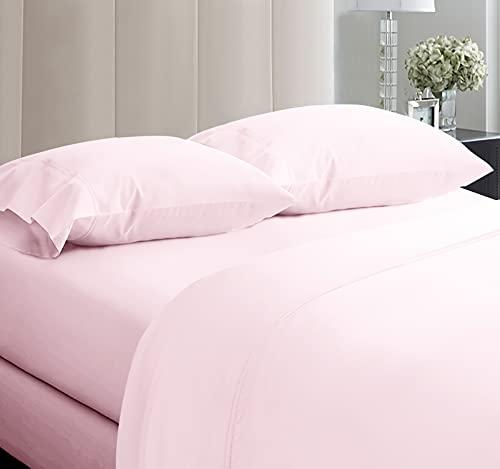 California Design Den Extra Deep Pocket Sheet Set - 600 Thread Count Extra Long Staple Cotton Queen Size Blush Pink Sheets, Soft & Sateen Weave 4 Piece Bedding Set
