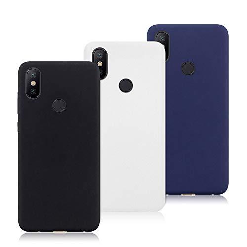 3X Funda Xiaomi Mi Mix 2S, Trasero Color Sólido Cáscara Flexible Goma Suave Delgado Gel TPU Silicona Protección Case Mate Antigolpes Anti-rasguño Caso - Negro, Blanco, Azul Oscuro