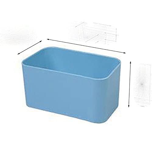 Caja de almacenamiento montada en la pared, control remoto cosmético adhesivo para puerta de armario, armario, baño, soporte para teléfono, azul S