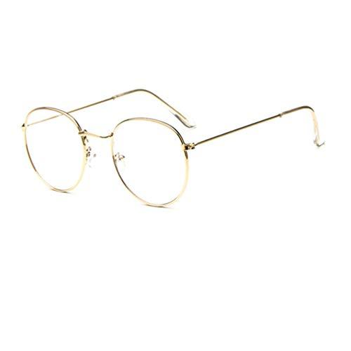 Embryform Lesebrillen Herren Damen Klassische Metall Halbrandbrille Lesehilfe Federschaniere Klar Brille Augenoptik Vintage Sehhilfe Arbeitsplatzbrille Rahmen, Runden Gläsern