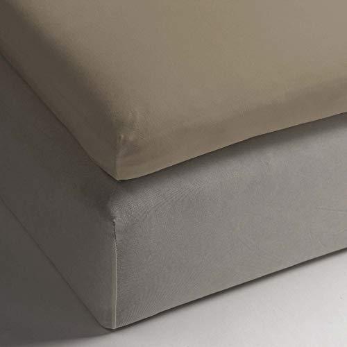 HNL katoenen hoeslaken voor topper 160 x 200 x 12 cm I kleur Pure Gold