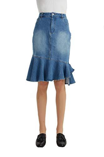 TronjoriWomensCasualStretchedDenimFishtailMidiSkirt(XL,Blue)