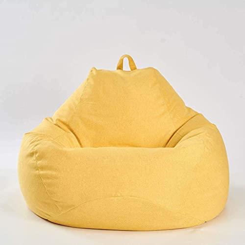 IOUYRRN Bohnenbeutel, Faule Sofa Stuhl Gaming Lazy Lounger Sitzsack für Erwachsene und Kinder für Wohnzimmer, Schlafzimmer, Garten, Outdoor, Rot, M (Color : Yellow, Size : L)