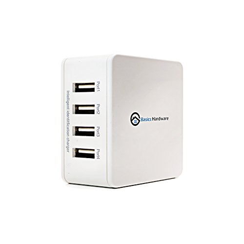 Basics Hardware Universal USB Wall Charger. USB Plug iPad, iPhone, Samsung Charger (4-Port White)