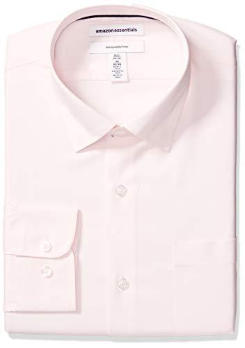 "Amazon Essentials Men's Slim-Fit Wrinkle-Resistant Stretch Dress Shirt, Pink, 14.5"" Neck 32""-33"" Sleeve"