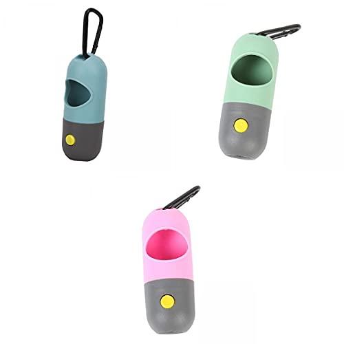 MERIGLARE Dispensador de Bolsas de Caca de Perro de 3 Piezas con Soporte de Bolsas de Basura con Linterna LED