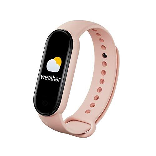 LYB Bluetooth 4.0 Pantalla De Color Pulsera Inteligente Tasa del Corazón/Presión Arterial/Monitoreo del Sueño IP67 Banda Inteligente Impermeable (Color : Pink)