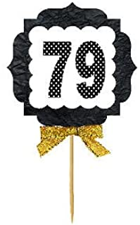 79th Birthday / Anniversary Gold Ribbon Hand Crafted Novelty Cupcake Decoration Toppers / Picks -12ct