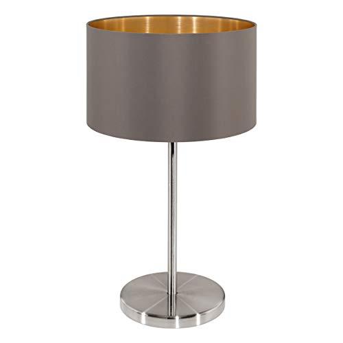 EGLO Tischlampe Maserlo, 1 flammige Textil Tischleuchte, Nachttischlampe aus Stahl und Stoff, Farbe: Nickel matt, cappuccino, gold, Fassung: E27, inkl. Schalter
