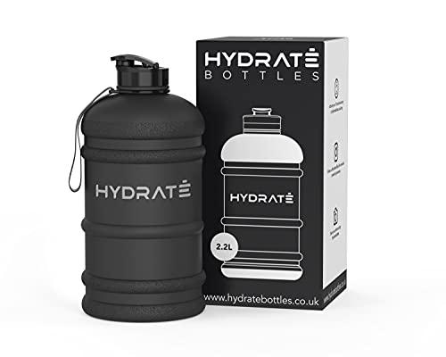 HYDRATE XL Jug 2.2 Litre Water Bottle - BPA Free, Flip Cap, Ideal for Gym - Colour Options (2.2 Litre, Matte Black)