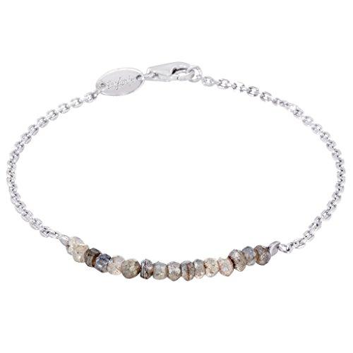Engelsrufer Labradorit Armband für Damen rhodiniertes 925er-Sterlingsilber Länge 16 cm + 2 cm