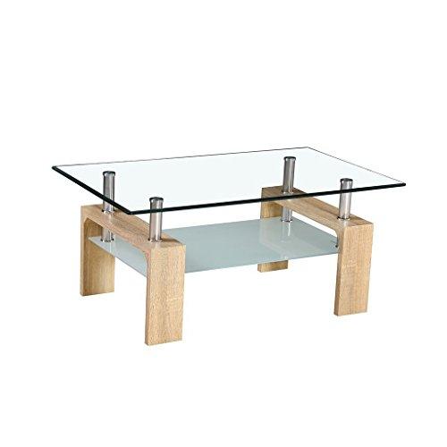 Table Basse en Verre 100x60xH44cm Pieds Look Bois