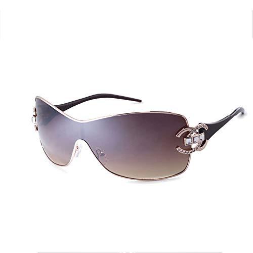 Gafas De Sol Polarizadas para Hombre Y Mujer, Gafas Redondas De Metal con Montura De Una Pieza De Cristal De Mampostería, Aptas para Actividades Al Aire Libre Y Ciclismo,Marrón
