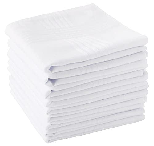 Men's Handkerchiefs 100% Soft Cotton White Hankie Hankerchieves 12 Pieces