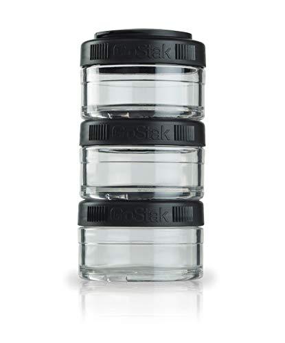 BlenderBottle GoStak Behälter zum Aufbewahren von Protein, Eiweiß, Pulver, Vitaminen und mehr- 3Pak 60ml (3x60ml), schwarz