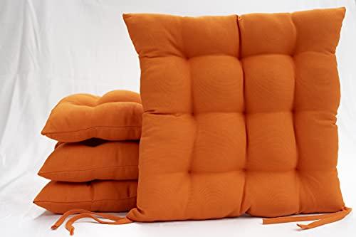 Bemitus - Pack Cojines para Silla y Asiento - Acolchado 9 Pespuntes de Relleno Fibra Poliéster con Cremallera - Tiras de Atar - Confeccionado en España, Oeko-Tex Hipoalergénicas (Naranja, Pack 4)