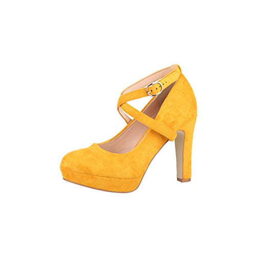 Elara Damen Pumps Riemchen High Heels Vintage Chunkyrayan ZZ536 Wildlederoptik Yellow-40