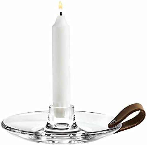 Holmegaard Design Kerzenlicht Kerzenhalter aus Glas, Kerzenständer mit einem Lederband für Stabkerzen, 16cm