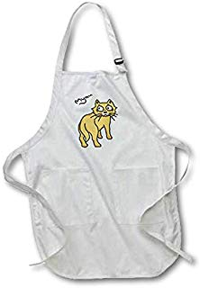 3dRose Warya - Animals. - Ginger Cat Say Meou - Full Length Apron with Pockets 22w x 30l (apr_299938_1)