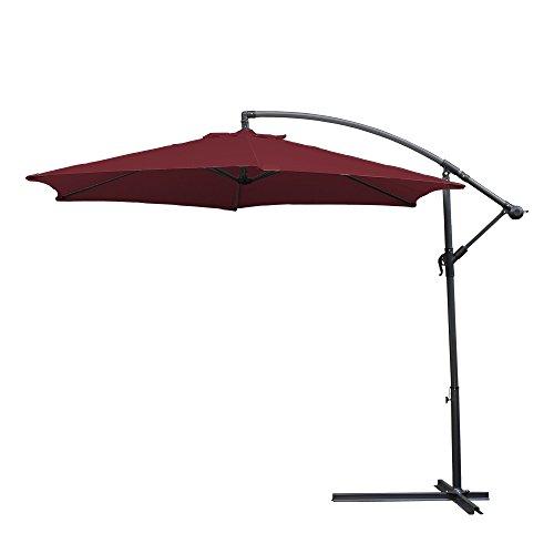 wolketon Alu Ampelschirm Ø 300cm mit Kurbelvorrichtung Sonnenschirm Gartenschirm Kurbelschirm UV 30+ Wasserabweisende Marktschirm