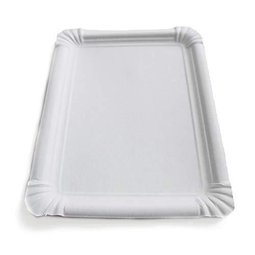 Extiff - Confezione da 20 vassoi di Cartone Bianco, vassoi di Presentazione per Pasticceria o Buffet Freddo (23 x 17 cm)