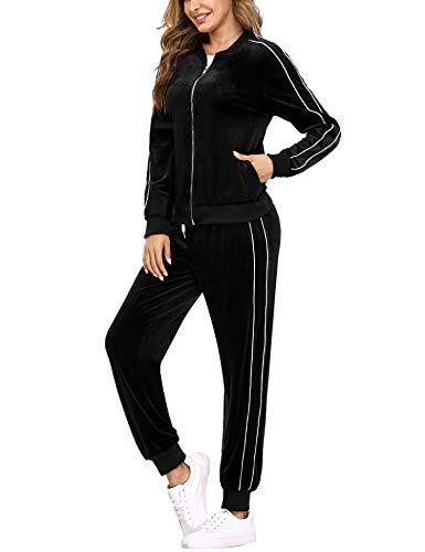 Irevial Conjunto de Chándal para Mujer de algodón,Cómodo Terciopelo Trajes de Manga Larga Chaquetas Deportivas con Cremallera Completa y Pantalones de Cintura Alta, Pijamas Set