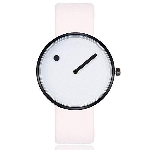 Reloj Unisex Minimalista Punto Raya de Cuarzo y Correa de Cuero Blanco y Negra (Blanco)