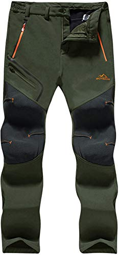 TACVASEN Skiing Trousers Men Winter Warm Fleece Outdoor Trousers Leisure Trekking Trousers Mens Casual Thermal Snow Trousers Cold Weather Thick Army Green 30